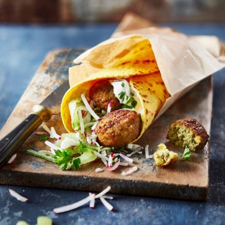 Falafel; hummus; wrap; beet